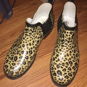 Shoes - Cheetah Print ankle Rain Boots